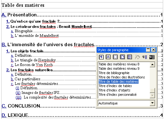 Table des mati res - Numerotation des pages sur open office ...