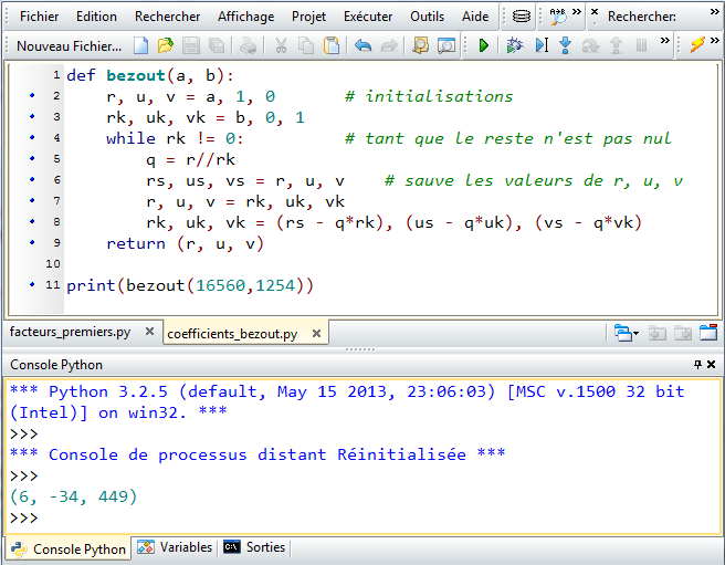traduction Algorithme sur python ou calculette - forum de ...